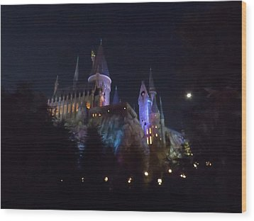 Hogwarts Castle In Lights Wood Print