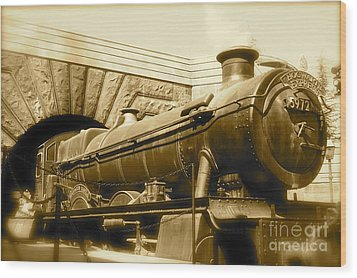 Hogwarts Express Sepia 1 Wood Print by Shelley Overton