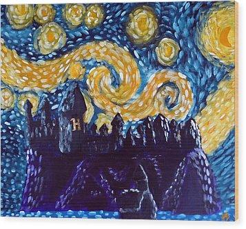 Hogwarts Starry Night Wood Print by Jera Sky
