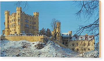 Hohenschwangau Castle Panorama In Winter Wood Print by Rudi Prott