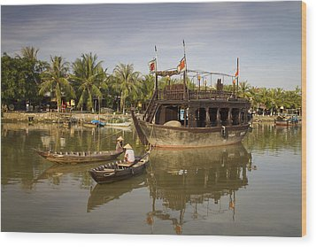 Hoi An River Boats Wood Print by Kim Andelkovic