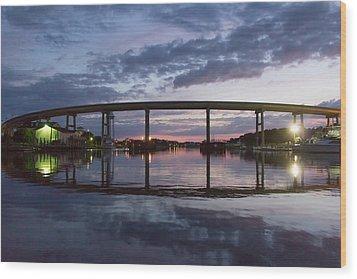 Holden Beach Bridge After Sunset 2 Wood Print by Alan Raasch
