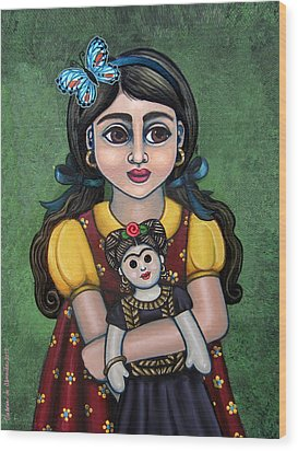 Holding Frida With Butterfly Wood Print by Victoria De Almeida