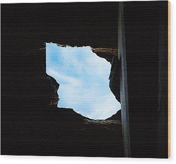 Wood Print featuring the photograph Hole In The Roof  by Gary Heller