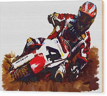 Hole Shot Ricky Carmichael Wood Print by Iconic Images Art Gallery David Pucciarelli