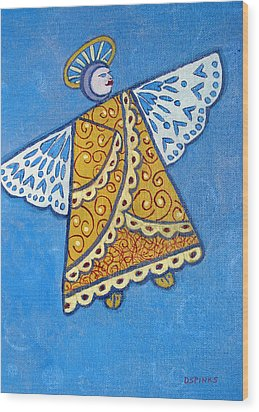 Holiday Angel Wood Print by Debra Spinks