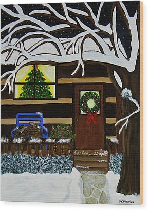 Wood Print featuring the painting Holiday Cabin by Celeste Manning