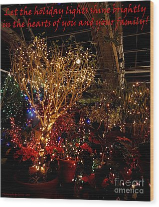 Holiday Lights Greeting Card Wood Print by Gena Weiser