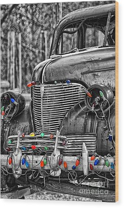 Holiday Lights On Old Truck Wood Print by Birgit Tyrrell