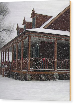 Holiday Porch Wood Print