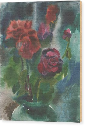 Holiday Roses Wood Print by Anna Lobovikov-Katz