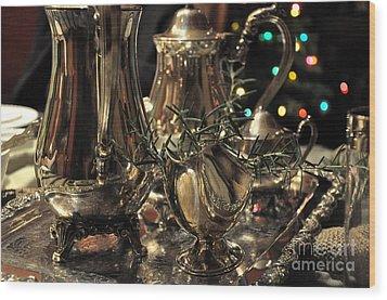 Holiday Silver  2 Wood Print by Tanya  Searcy