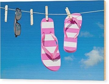 Holiday Washing Line Wood Print by Amanda Elwell