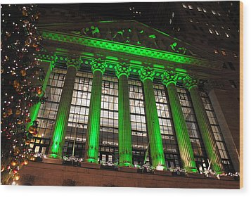 Wood Print featuring the photograph Holidays At Ny Stock Exchange by Robert  Moss