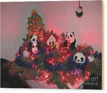 Holidays In Pandaland Wood Print by Ausra Huntington nee Paulauskaite