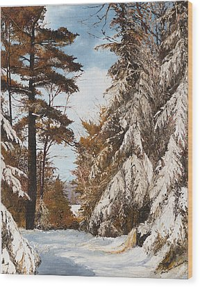 Holland Lake Lodge Road - Montana Wood Print by Mary Ellen Anderson