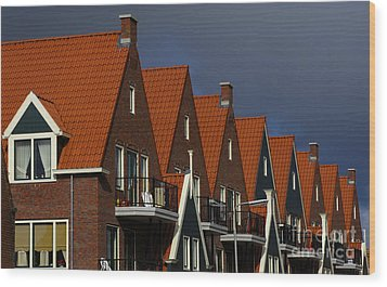 Holland Row Of Roof Tops Wood Print by Bob Christopher