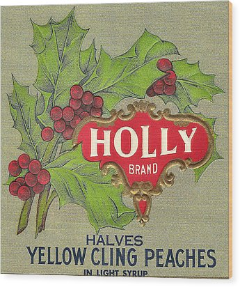 Holly Brand Yellow Cling Peaches Wood Print by Studio Art