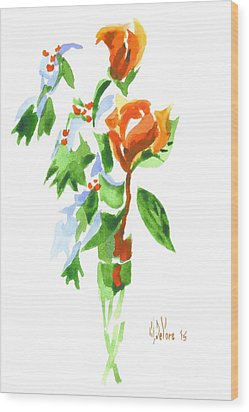 Wood Print featuring the painting Holly With Red Roses In A Vase by Kip DeVore
