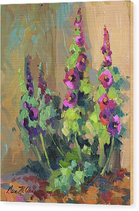 Hollyhocks At Giverny Wood Print by Diane McClary