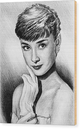 Hollywood Greats Hepburn Wood Print by Andrew Read