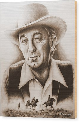 Hollywood Greats Mitchum Wood Print by Andrew Read