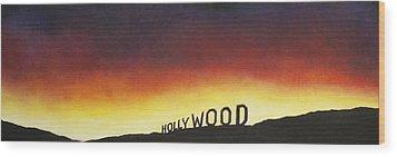 Hollywood On Fire Wood Print by Christine  Webb