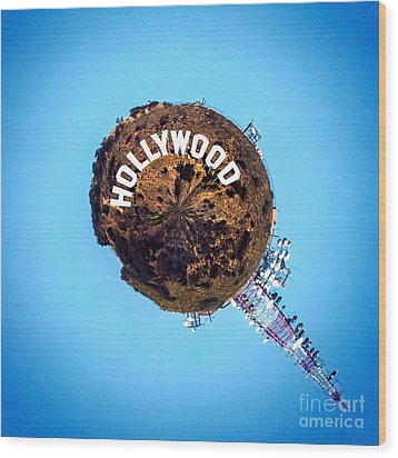 Hollywood Sign Circagraph Wood Print by Az Jackson