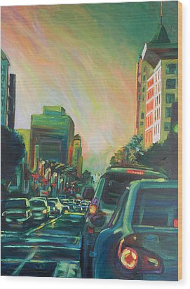 Hollywood Sunshower Wood Print by Bonnie Lambert