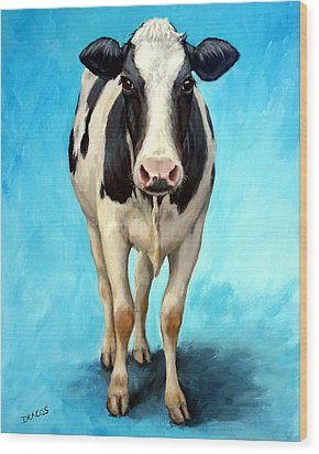 Holstein Cow Standing On Turquoise Wood Print