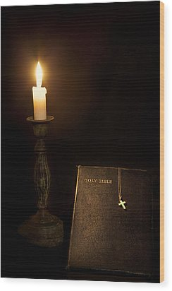 Holy Bible Wood Print by Bill Wakeley