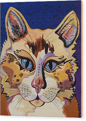 Wood Print featuring the painting Holy Cat by Bob Coonts