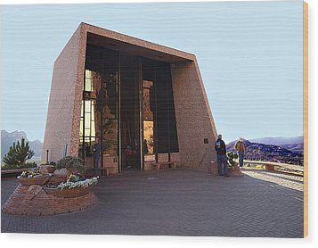 Holy Cross Or Red Rock Chapel Rear View Wood Print by Bob and Nadine Johnston