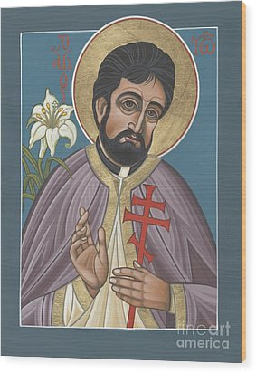 Wood Print featuring the painting Holy New Martyr Father John Karastamatis Of Santa Cruz 216 by William Hart McNichols