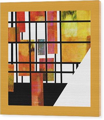 Homage To Mondrian Three Wood Print by Ann Powell