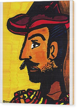 Wood Print featuring the drawing Hombre by Don Koester