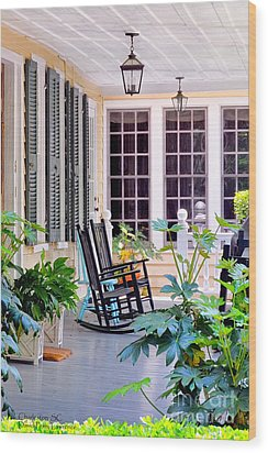 Veranda - Charleston, S C By Travel Photographer David Perry Lawrence Wood Print by David Perry Lawrence