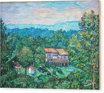 Home In The Hills Wood Print by Kendall Kessler
