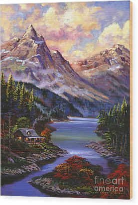 Home In The Mountains Wood Print by David Lloyd Glover