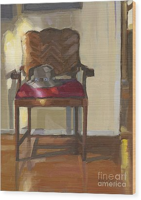 Wood Print featuring the painting Sold Home Is Where Your Hat Lies by Nancy  Parsons