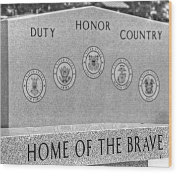 Home Of The Brave Wood Print by Heather Allen