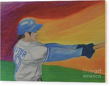 Wood Print featuring the drawing Home Run Swing Baseball Batter by First Star Art