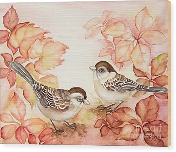 Home Sparrows Wood Print by Inese Poga