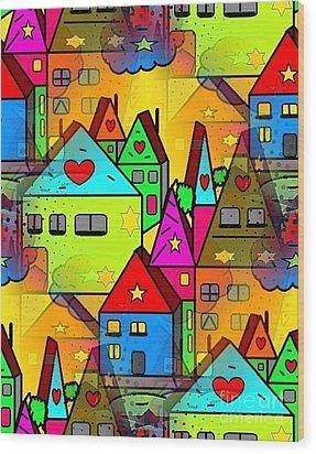 Home Sweet Home By Nico Bielow Wood Print