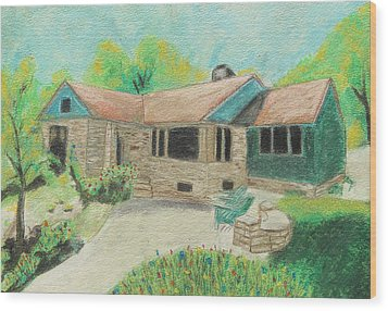 Wood Print featuring the painting Home Sweet Home by Jeanne Fischer