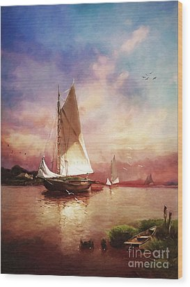 Home To The Harbor Wood Print by Lianne Schneider