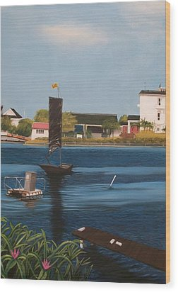 Wood Print featuring the painting Home Town by Susan Roberts