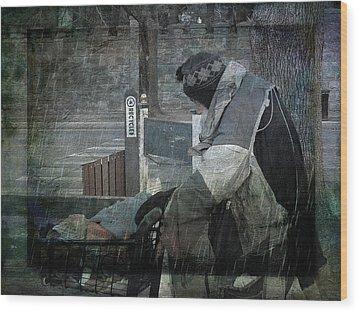 Homeless Man Wood Print by Geoffrey Coelho