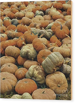 Homeless Pumpkins Wood Print by Nancy Marie Ricketts