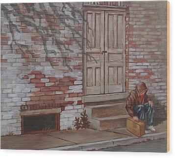 Wood Print featuring the painting Homeless by Tony Caviston